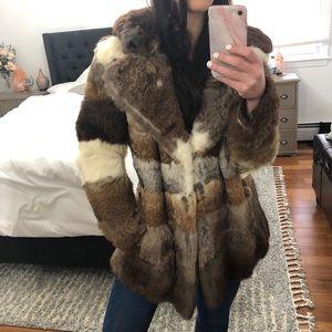 Soft vintage rabbit real fur coat small